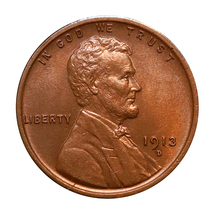 1913 D Lincoln Wheat Cent - Red Gem BU / MS RD / UNC image 3