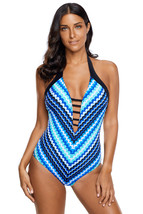 Blue Fish Scale Mermaid Maillot Teddy Swimwear  - $20.06