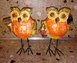 "Set of 2 Owl Figurines Thanksgiving Fall Harvest Decor 5"" - $19.79"