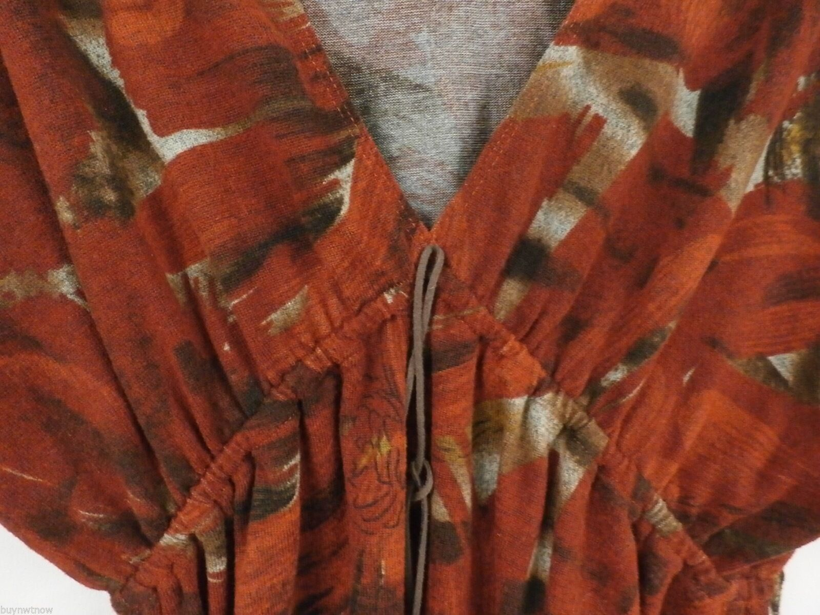 American Rag Cie Stretch Tunic Mini Dress Rust Abstract Print L Poly Spandex image 2