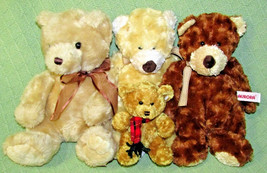 """4 Aurora TEDDY BEAR Lot Plush Stuffed Animals Tan Brown 12"""" - 5"""" Cuddly ... - $24.75"""