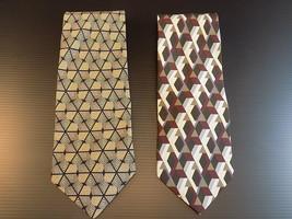 ALFANI MENS NECK TIE Set of 2 Pure 100% Silk Dress Ties Geometric Patterns - $11.87