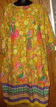 Vintage 70s Ethnic Hippie BOHO Psychedelic print lounge tent Dress size L - $159.99