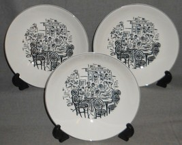 "Set (3) Mikasa Ultima+ Parisian Scenes Pattern 8 1/4"" Coupe Soup Bowls - $59.39"