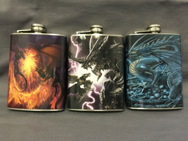 Set of 3 Dragon Set # 1 Flasks 8oz Stainless Steel Hip Drinking Whiskey - $21.73