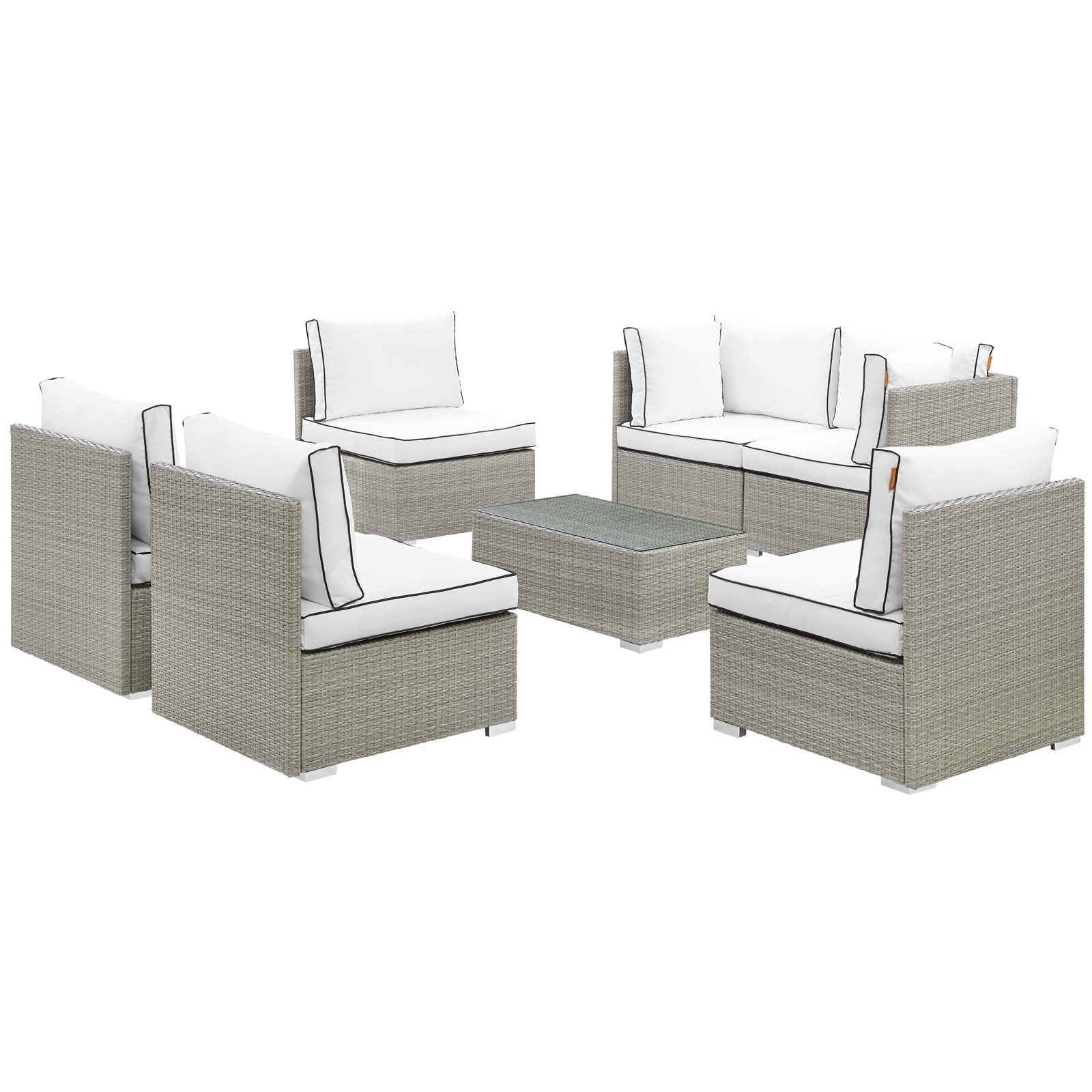 Repose 7 Piece Outdoor Patio Sectional Set Light Gray White EEI-3004-LGR-WHI-SE
