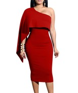 GOBLES Women's Summer Sexy One Shoulder Ruffle Bodycon Midi Cocktail Dre... - $39.18