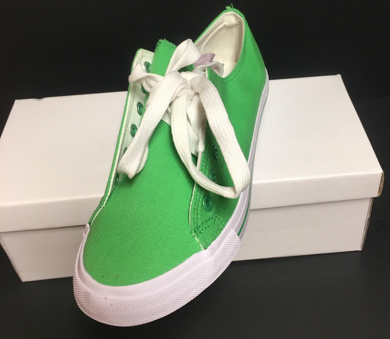 Custom School Kicks Canvas Tennis Shoes Unisex 10/11.5 Lime Green NIB image 3