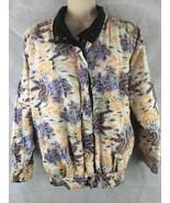 Lee Jee Reversible Black Jacket Windbreaker Cloth Tropical Unique Rare S... - $34.86