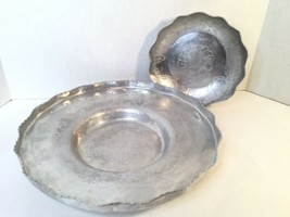 Lot 2 Vtg Aluminum Hand Wrought - Lg Round Tray And Bowl Serving Dish Sc... - $20.00