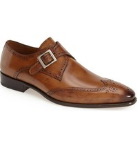 Handmade Men's Brown Wing Tip Brogues Monk Strap Dress/Formal Leather Shoes image 3