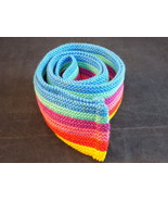 "WOMEN""S FABRIC BELT 2.5"" wd x 50"" lng  Striped with Blue Purple Red and ... - $9.89"