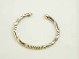 David Yurman Sterling 14k Blue Topaz Cable Cuff Bracelet ESTATE - $325.00