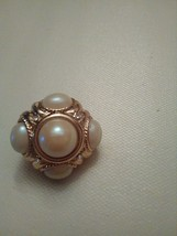 VINTAGE CLIP EARRINGS FAUX PEARL CLUSTER IN SQUARISH GOLDTONE BUTTON STYLE - $35.00