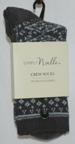 Simply Noelle Dark Gray Light Blue Crew Sock One Size Fits Most