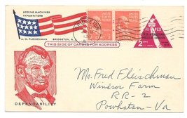 UX44 FIPEX Patriotic Lincoln Cachet A O Fleischman Advertising 1960 Brid... - $5.50