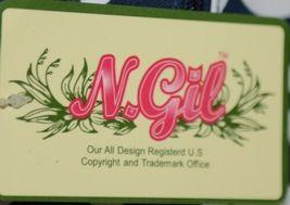 NGIL BIQ423NAVY Geometric Vine Print Canvas Duffle Bag Colors Navy and White image 5