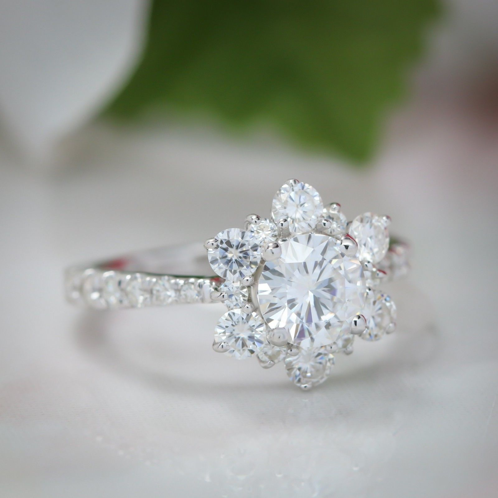 1.75 Ct Diamond Engagement Snowflake Cluster Wedding Ring 14K Solid White Gold
