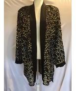 Black Velvet Dot Sheer Padded Cardigan Blouse Swing Top Jacket XXXL - $29.70