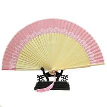 Butterfly Bone Lace Silk Folding Fan Artware    pink - $10.44