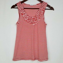 Kimchi Blue Womens Tank Top XS Red White Striped Ruffled Knit Sleeveless... - $14.99