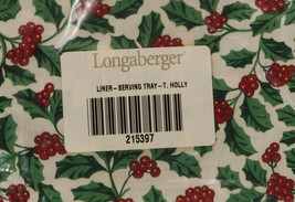Longaberger Serving Tray TRADITIONAL HOLLY Liner Fabric NEW in Package 2... - $17.99