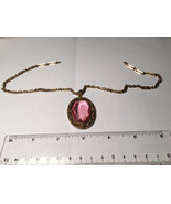 Antique Jewelry 1800's 1830's rose gold amethyst czech oval stone pendant  - $74.25