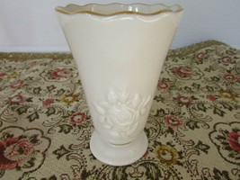 "LENOX BONE CHINA 4"" BUD VASE EMBOSSED ROSE 24 KT GOLD ACCENT - $7.87"