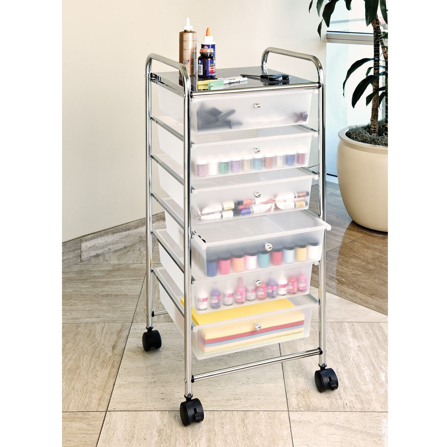Primary image for Mobile Office Organizer Craft Supplies Storage Makeup Rolling Cart with Drawers