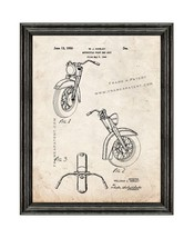 Harley Motorcycle Front End Unit Patent Print Old Look with Black Wood F... - $24.95+