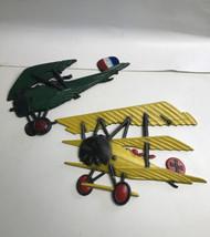 Lot of 2 HOMCO vintage Metal Wall Hanging Airplane Biplane 1975 Decorati... - $17.82