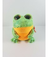 New with Tag TY Beanie Boo Boos SPECKLES the FROG 5.25 inches Green Orange - $9.99