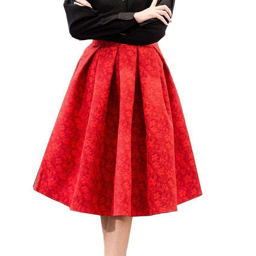 Daisy dress for less skirts pleated floral jacquard women a line skirts 1406135697439