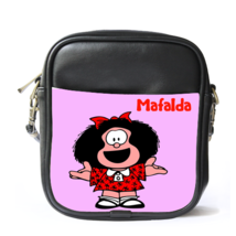 Sling Bag Leather Shoulder Bag Basta Mafalda Cute Funny Animation Pink G... - $14.00
