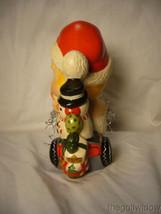 Vaillancourt Folk Art Baby Santa on a Trike with Snowman Signed  image 2