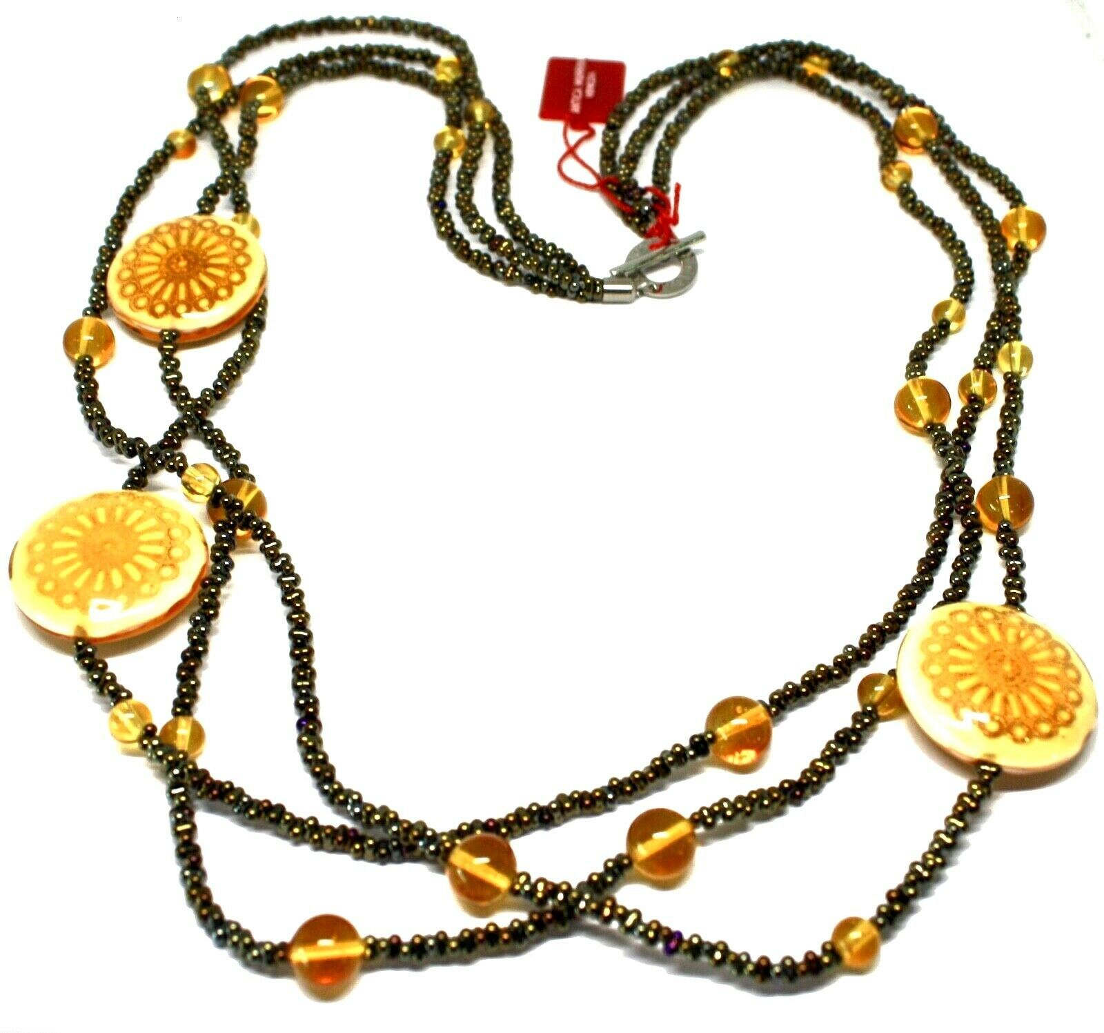 Necklace Antica Murrina Venezia with Glass of Murno Disc Beige & Gold CO724A10