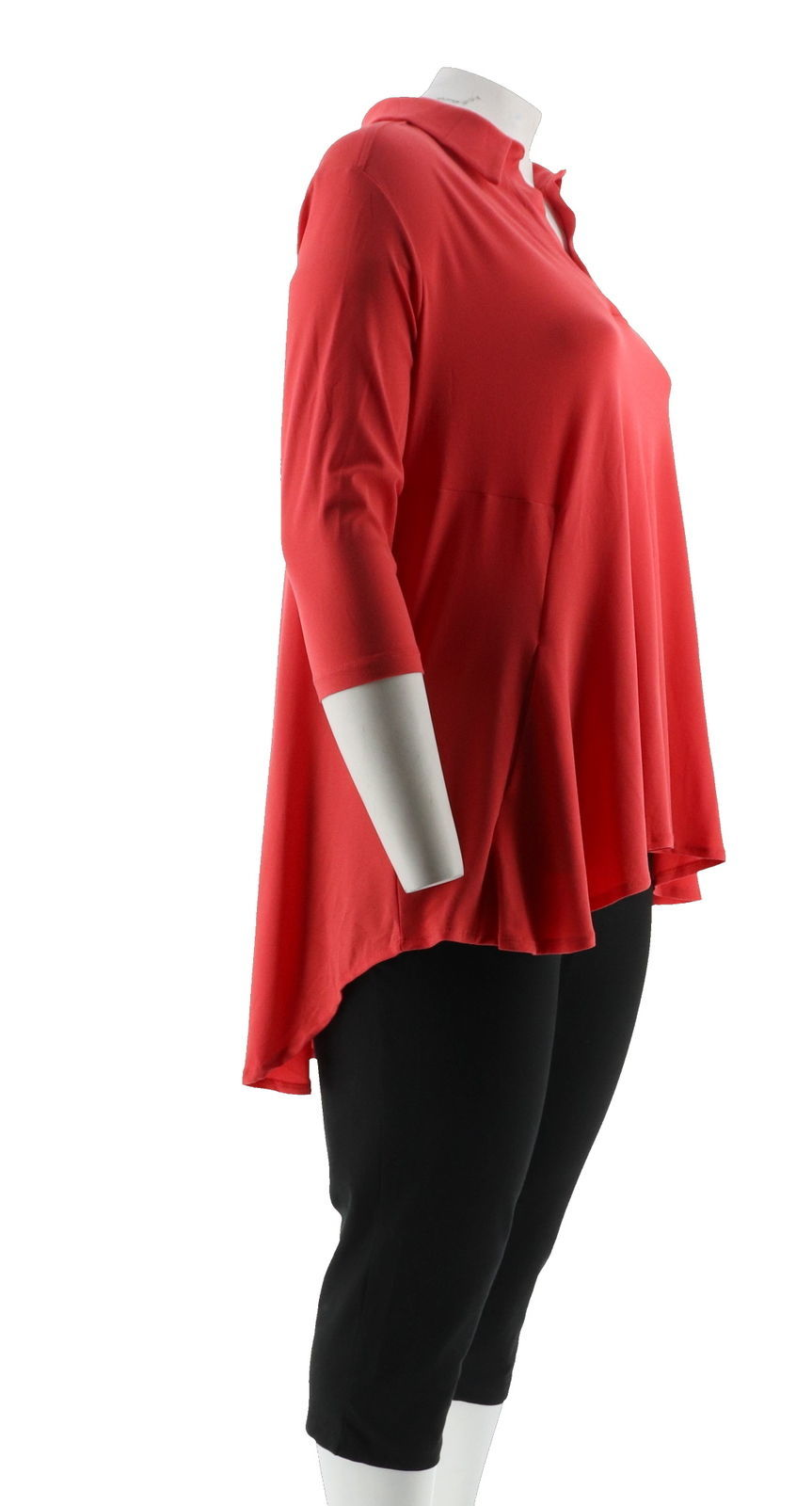 Women with Control Crepe Jersey Tunic Crop Pants Set Hibiscus PM NEW A290084