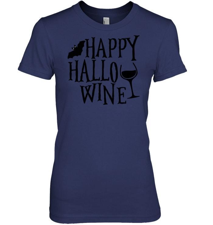 Funny Halloween Tshirt Women Happy Hallowine Wine Gift