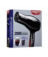 Red by Kiss 2000 Ceramic Ionic Blow Hair Dryer + 2 Bonus Detangler Pik #... - $19.75