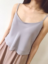 White Gray Chiffon Tops Lady Petite Size Chiffon Tanks Wedding Bridesmaid Tops