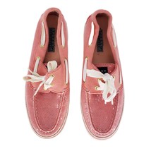 Sperry Top Slider Bahama Coral Jersey Sequins Boat Shoes Size 7M 9688656 - $30.00