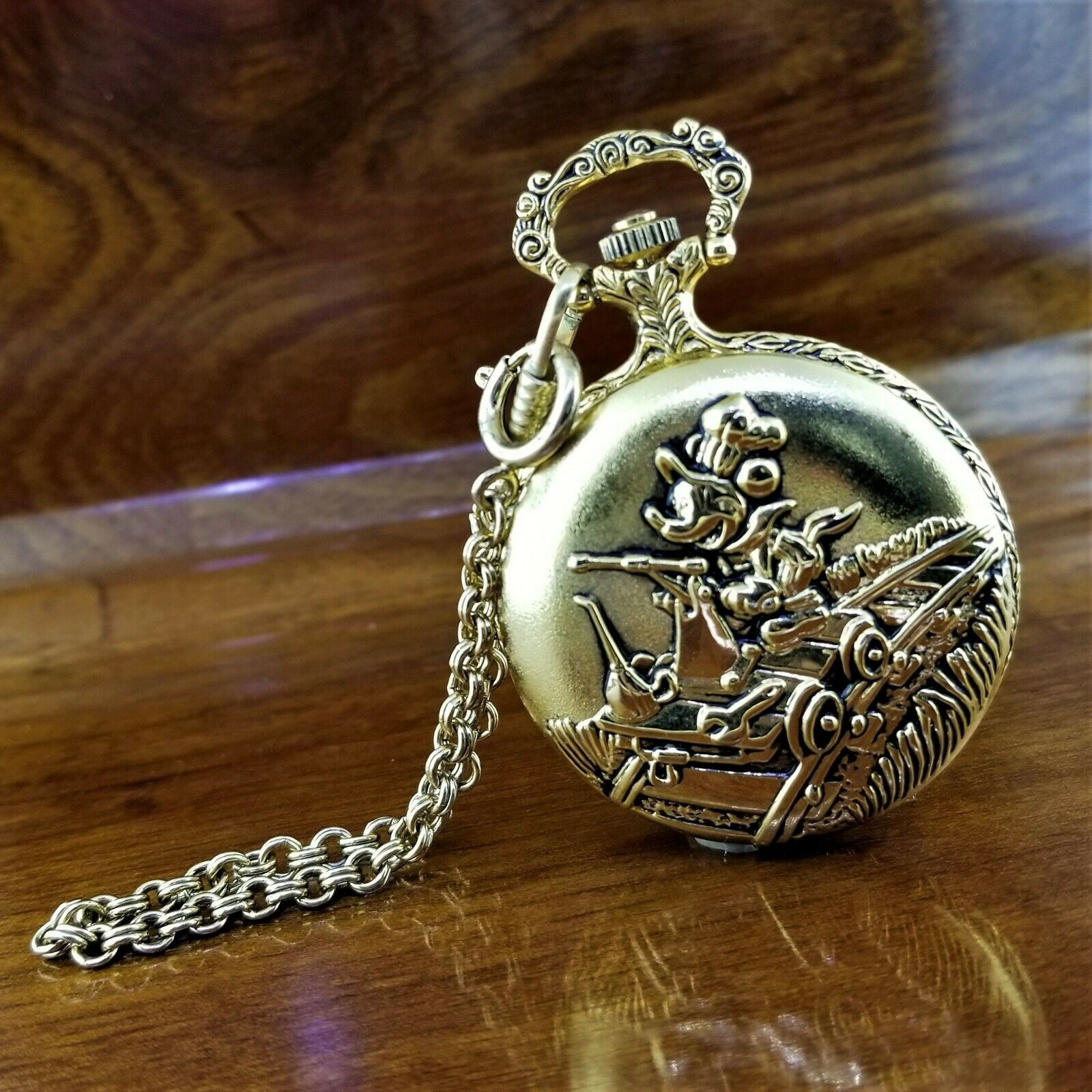 Vintage VERICHRON Disney Gold TN 3D Mickey Mouse Railroad Pocket Watch image 1