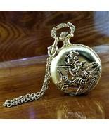 Vintage VERICHRON Disney Gold TN 3D Mickey Mouse Railroad Pocket Watch - $109.95