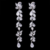 2018 Luxury New Long Fringe Earrings Leaf Shape Water Drop AAA+ Zirconia... - $25.35