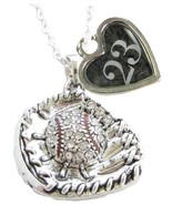 Custom Baseball Glove Crystal Silver Necklace Jewelry Jersey Numbers 00-49 Avail - $15.99