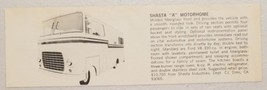"1973 Print Ad Shasta ""A"" Motorhome with Ford V8 Engine Dimi,CA - $8.89"