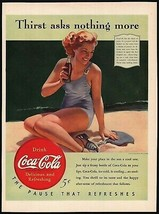 Vintage magazine ad COCA COLA from 1940 Thirst asks nothing girl in swimsuit - $12.99