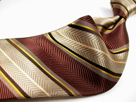 HENRY JACOBSON  New Brown/Gray/Pink STRIPES  Mens 100  SILK Necktie  8-11-9 - $19.99