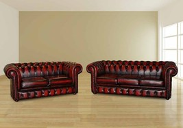 Chesterfield 3+2 Seater Real Antique Leather Sofa - $2,149.00