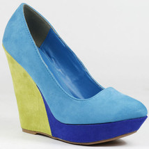 Turquoise Blue Yellow Faux Suede Pointy Toe High Heel Platform Wedge Qupid - $9.99